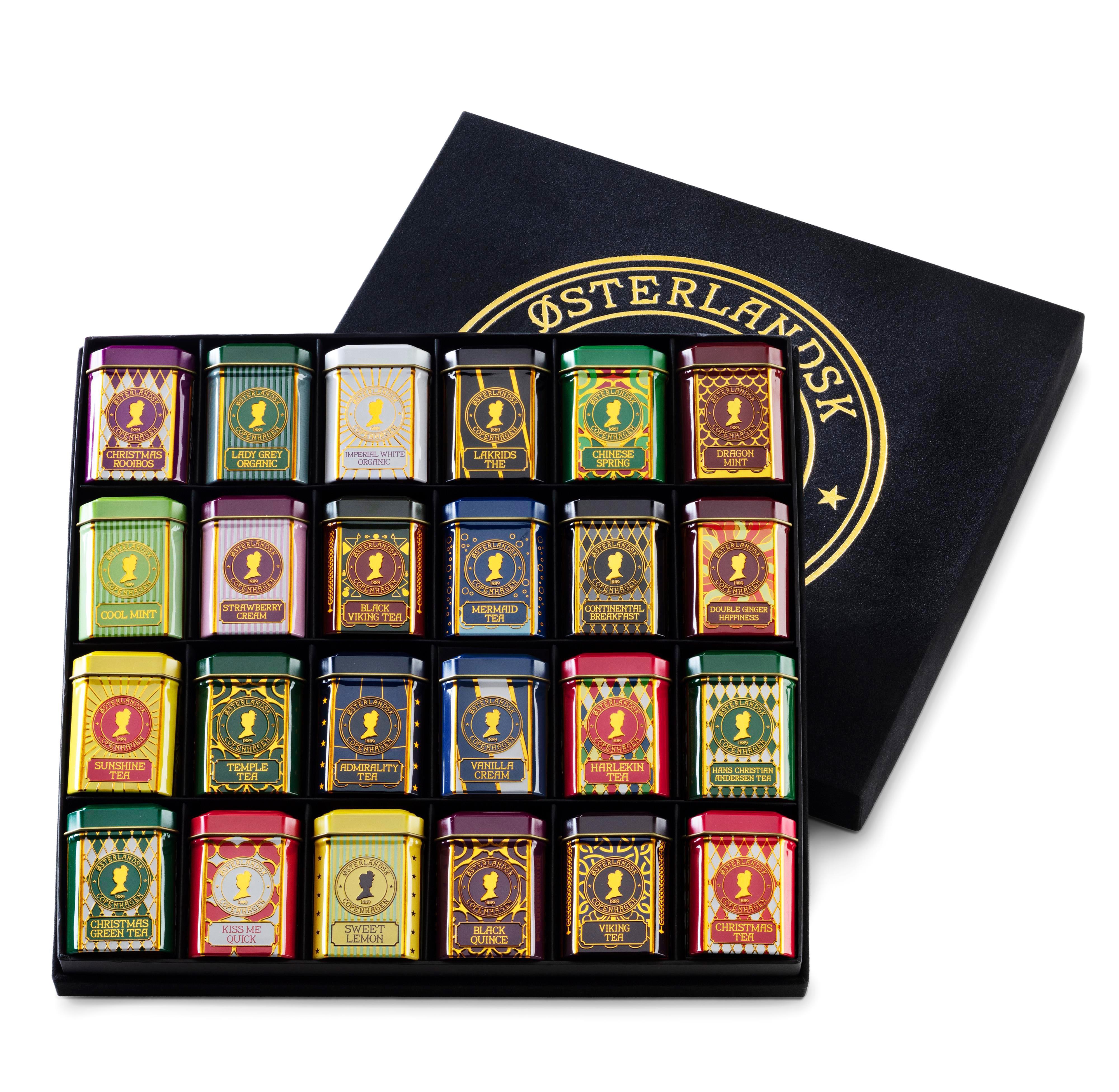 Østerlandsk Gaveæske, 24 dåser med te i løsvægt.