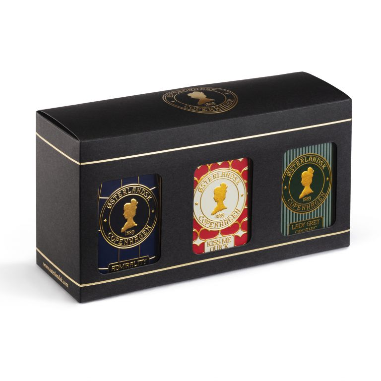 Gaveæske, 3 stk. tebrevsdåser - Sort Te
