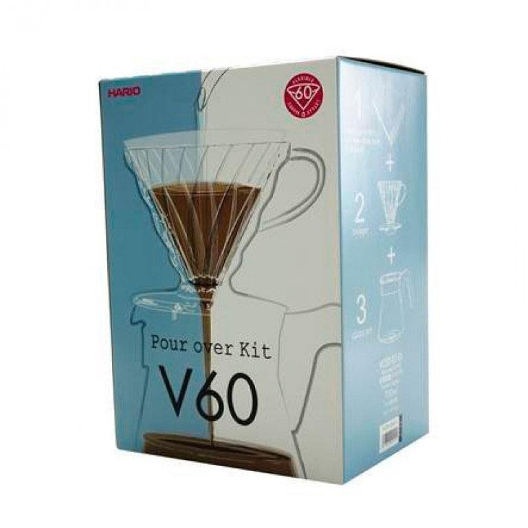 Hario V60 sæt m. plast, dripper, filter og kande