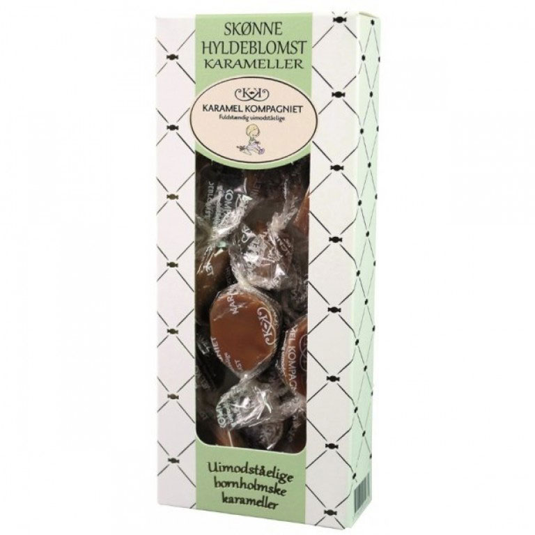 Hyldeblomstkarameller. grøn gaveæske 100g
